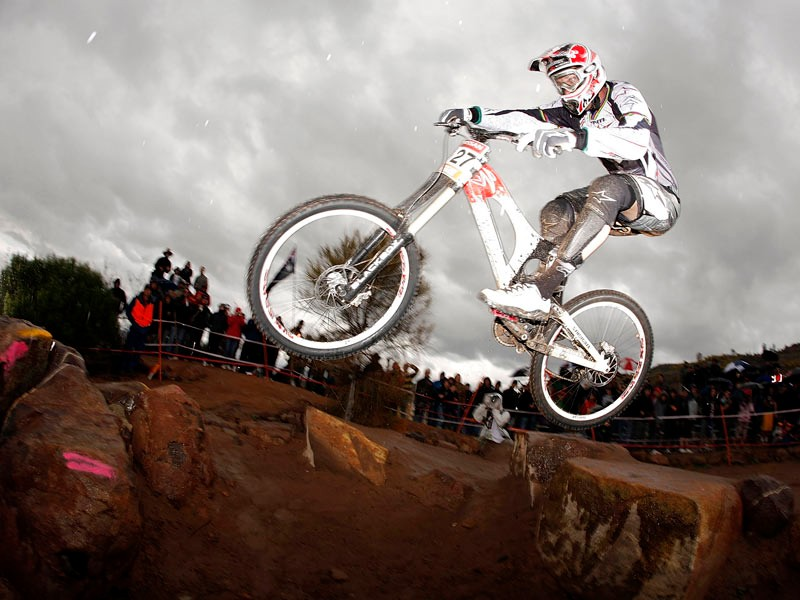 Greg Minnaar of South Africa competes in the semi final of the Men's Downhill event during day two of the MTB World Cup held at Mount Stromlo August 31, 2008 in Canberra, Australia
