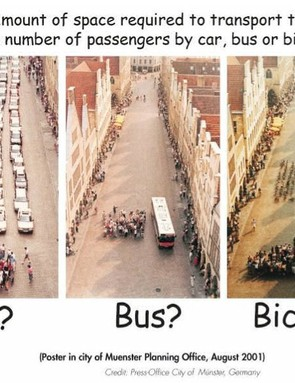 This classic poster shows how much space it takes to transport 72 people by car, bus and bike