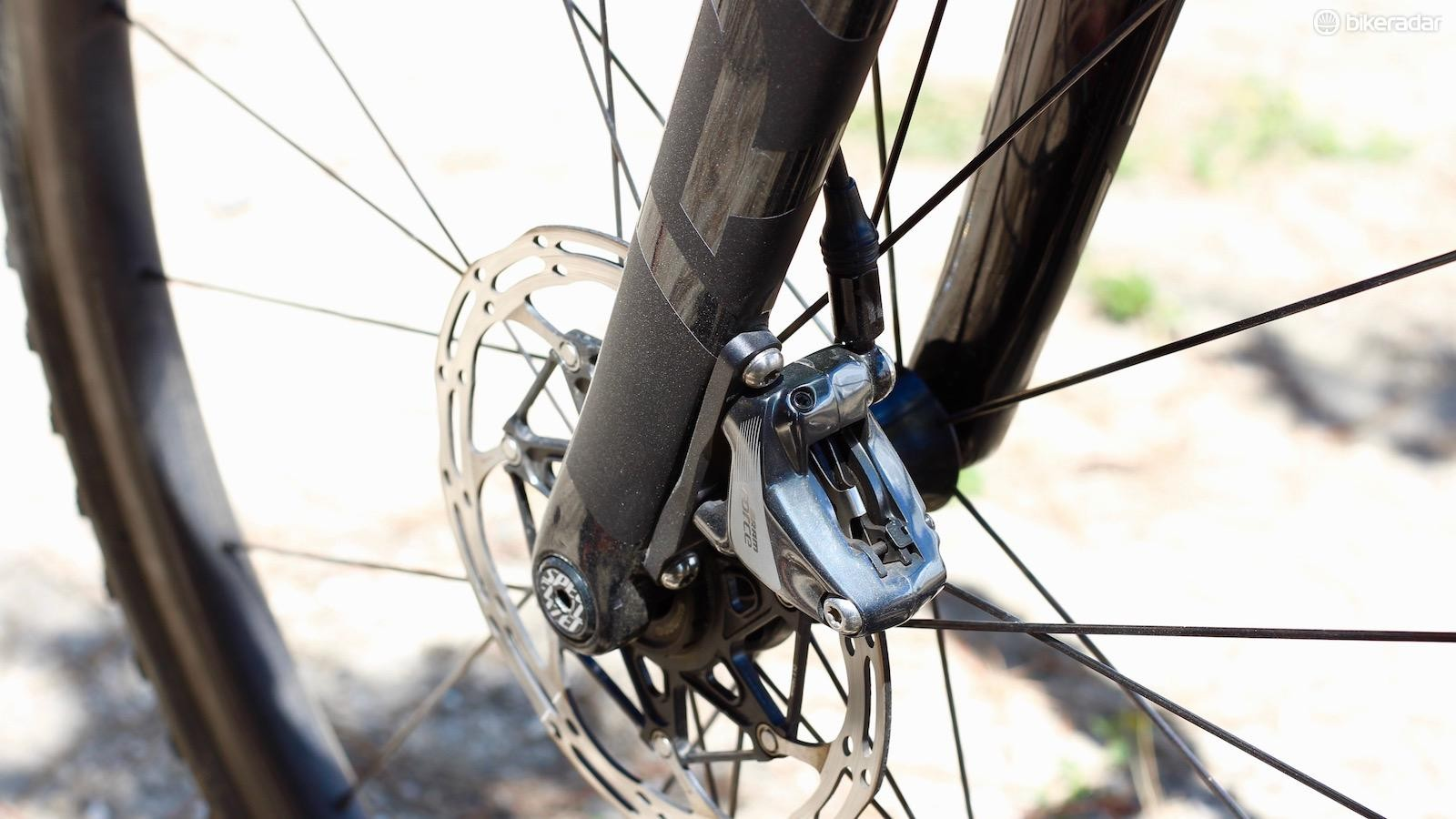 Although it's light, this thru-axle requires a tool, meaning this may not be a working-man's race bike (in fairness, this was a pro's bike). Maybe by the official launch they've got something more friendly to those of us that have spare wheels, not spare bikes