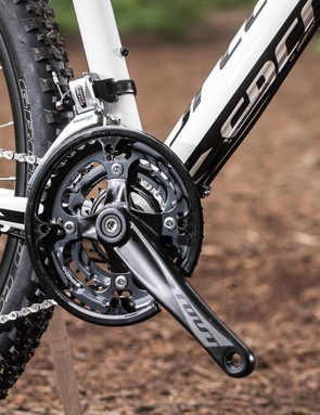 A triple ring chainset gives plenty of range, but the 8-speed rear cassette is rather gappy