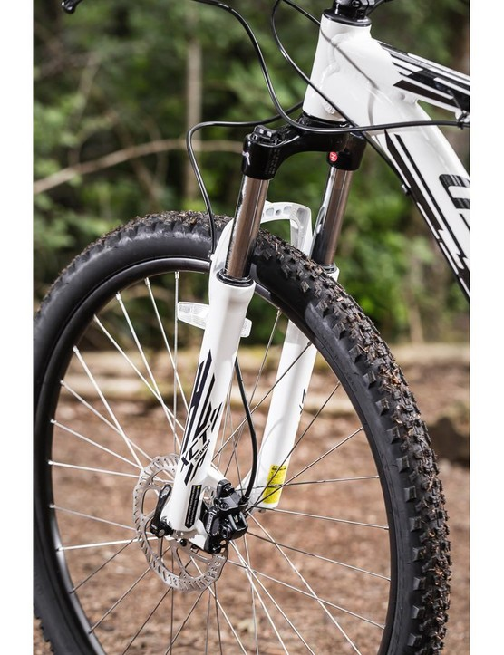 The Suntour suspension fork is a bit of a disappointment; it's flexy and poorly dampened