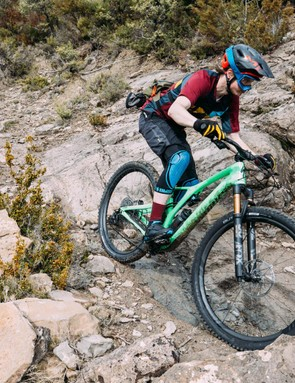 The stiff chassis handles gnarly terrain with ease...