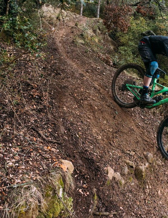 The high front end makes for a confident ride in steep terrain