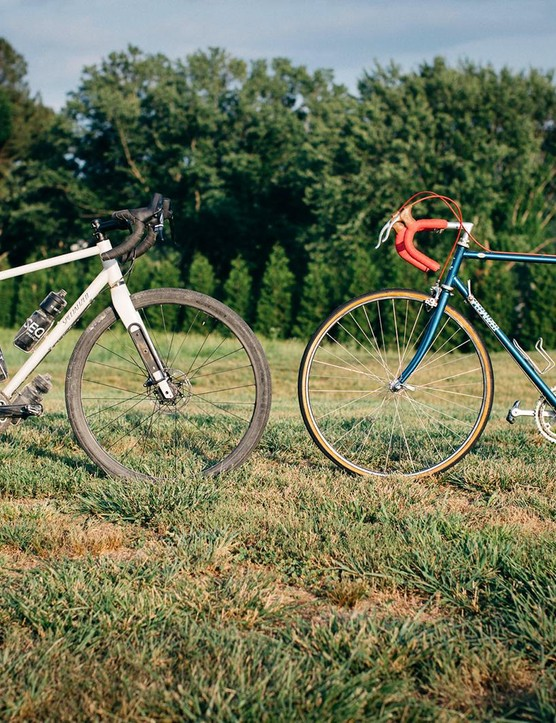 New meets old. Both Sequoias are constructed from steel, have drop bars and roll on 700c wheels, but that's where the similarities end