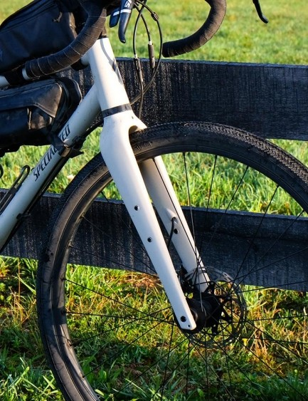 The full carbon fork has mounts for water bottles or cargo carriers