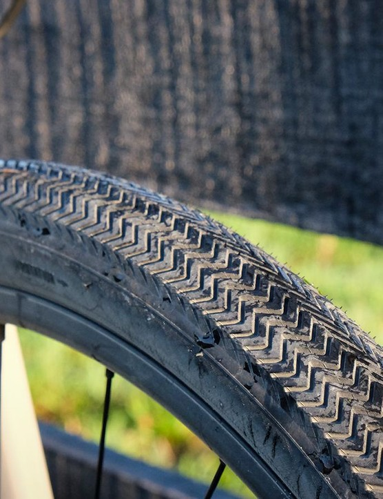 The zigzag profile wraps around the sides of the Sawtooth tires, allowing them to corner much better than expected