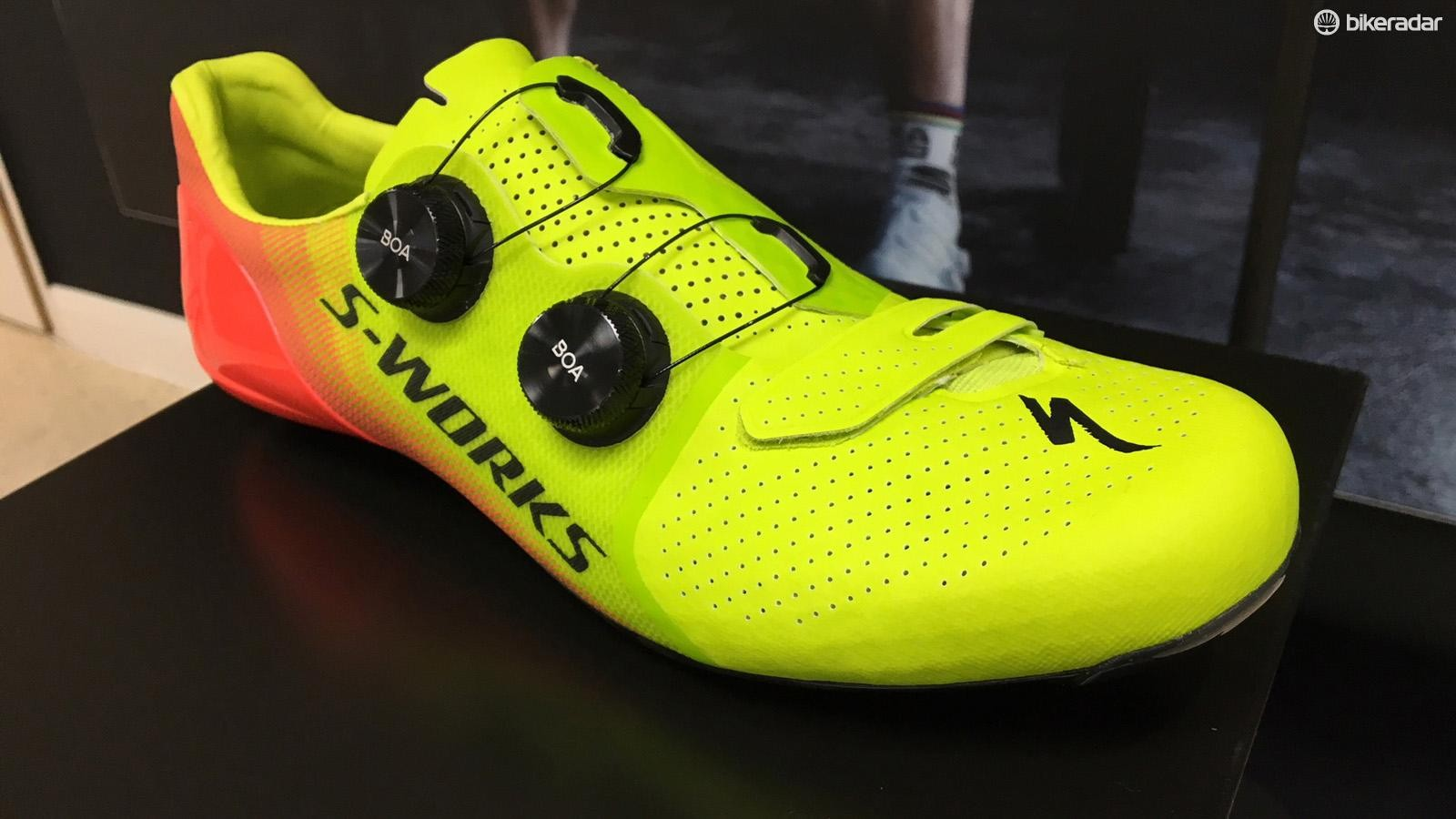 The new Specialized S-Works 7 shoes in the Hyper Acid Lava finish
