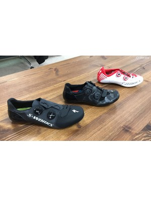Three generations of S-Works shoes: the new 7, the 6 and the 5
