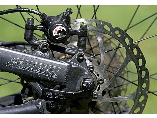 Hayes Sole brakes have big rotors (front 200mm, rear 180mm) for rapid stopping on big terrain