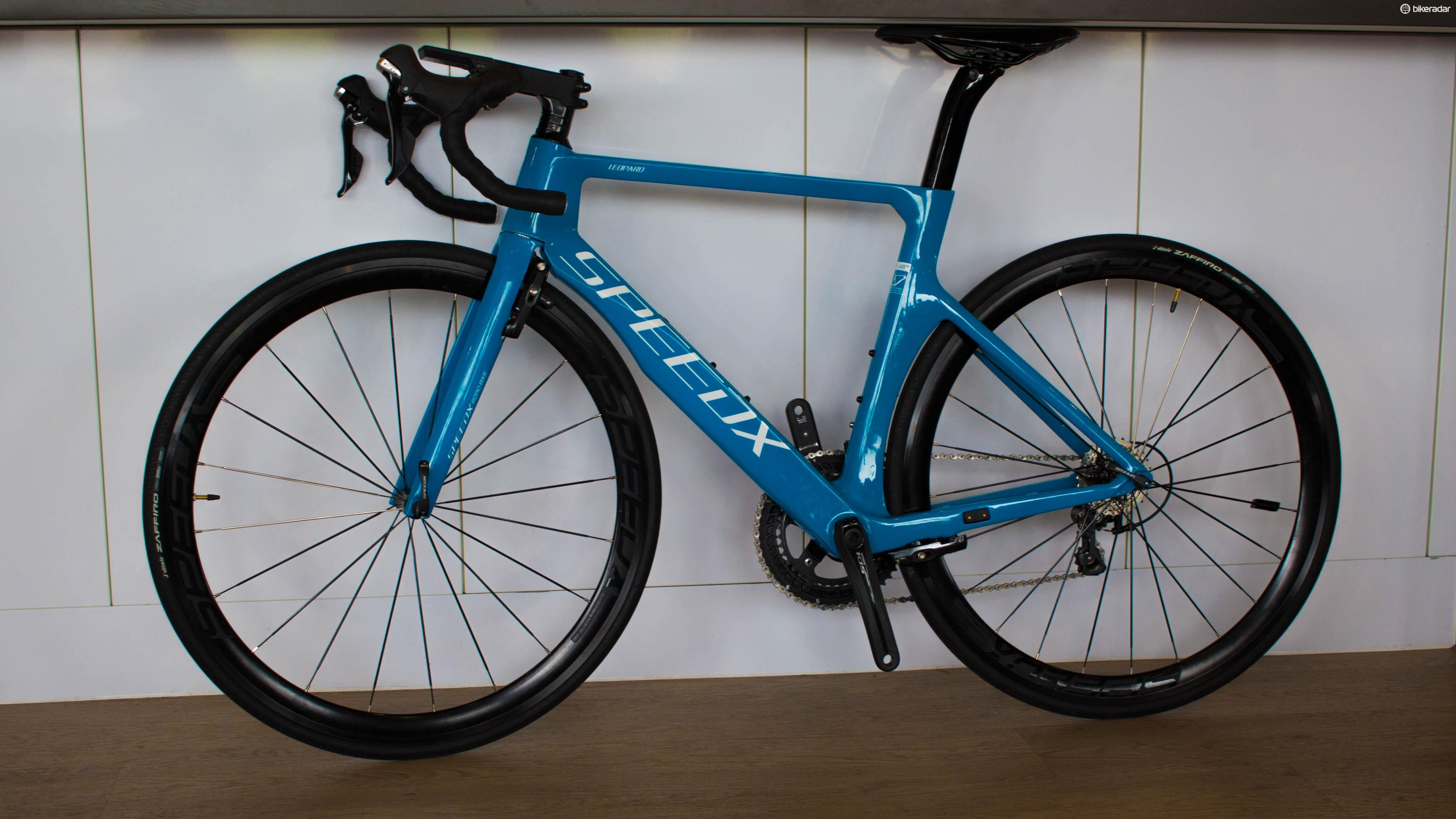 This is the SpeedX Leopard aero road bike, with integrated GPS bike computer and sensors