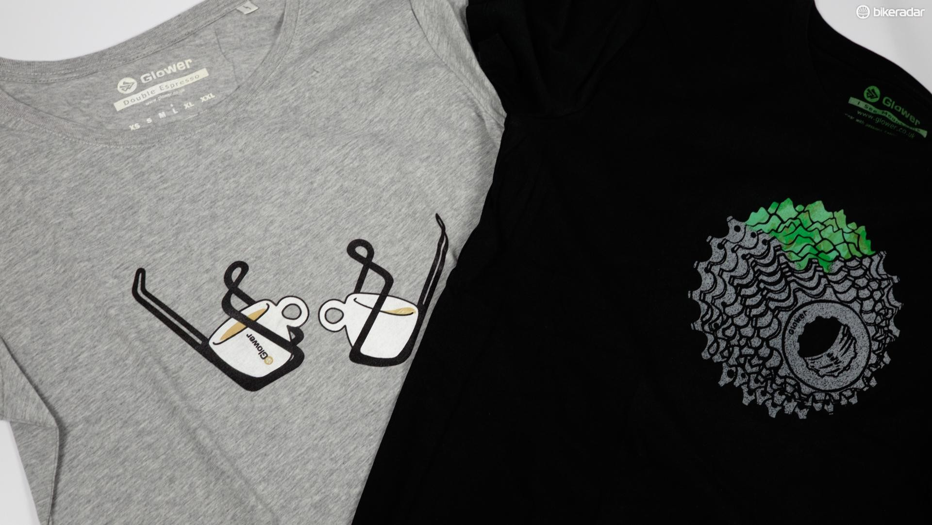 Glower Clothing makes men's and women's T-shirts and jumpers with designs inspired by cycling