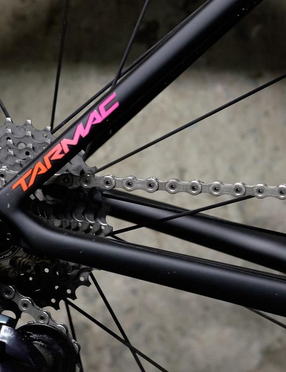 The S-Works Tarmac has Shimano Dura Ace Di2 gearing with an S-Works carbon fibre crank set