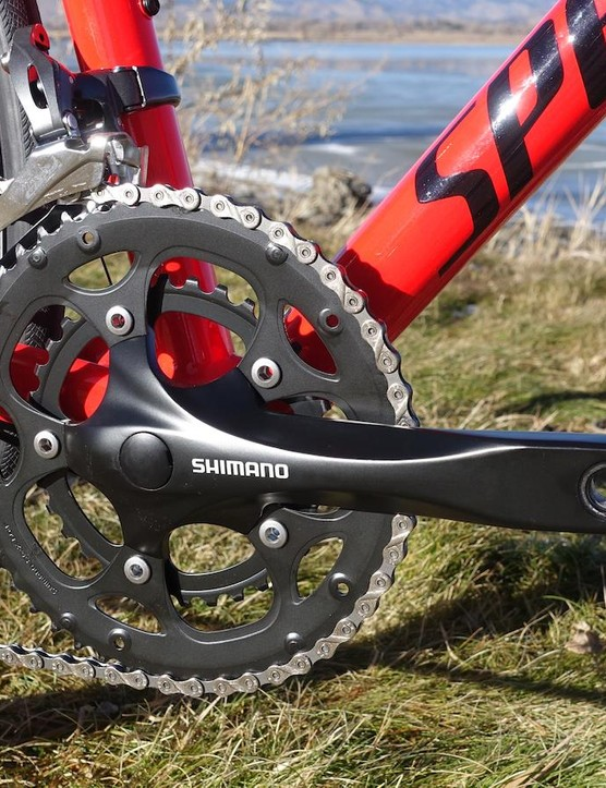 Shimano's non-series RS200 crankset may be a square taper model, but it gets the job done and shifts nicely