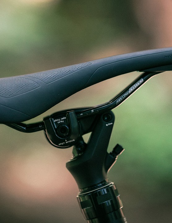 The Kenevo features Specialized's new Command Post WU, which tilts the rear of the saddle downwards as the post drops