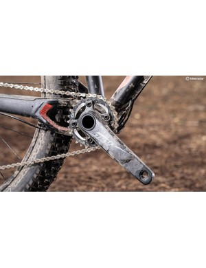 The 1x gearing still provides enough oomph to get up hills, aided by the power transfer efficiency hard tail bikes provide