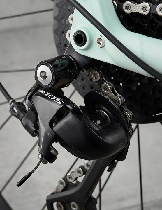 A mix of Shimano kit makes up the groupset including 105 derailleurs