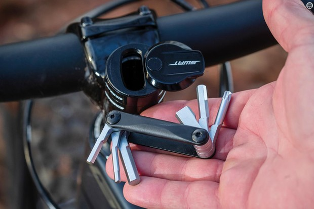 The SWAT Conceal Carry tool sits inside your fork steerer