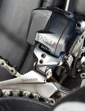 The Red's front derailleur features SRAM's 'Yaw' technology, which eliminates the need for trim