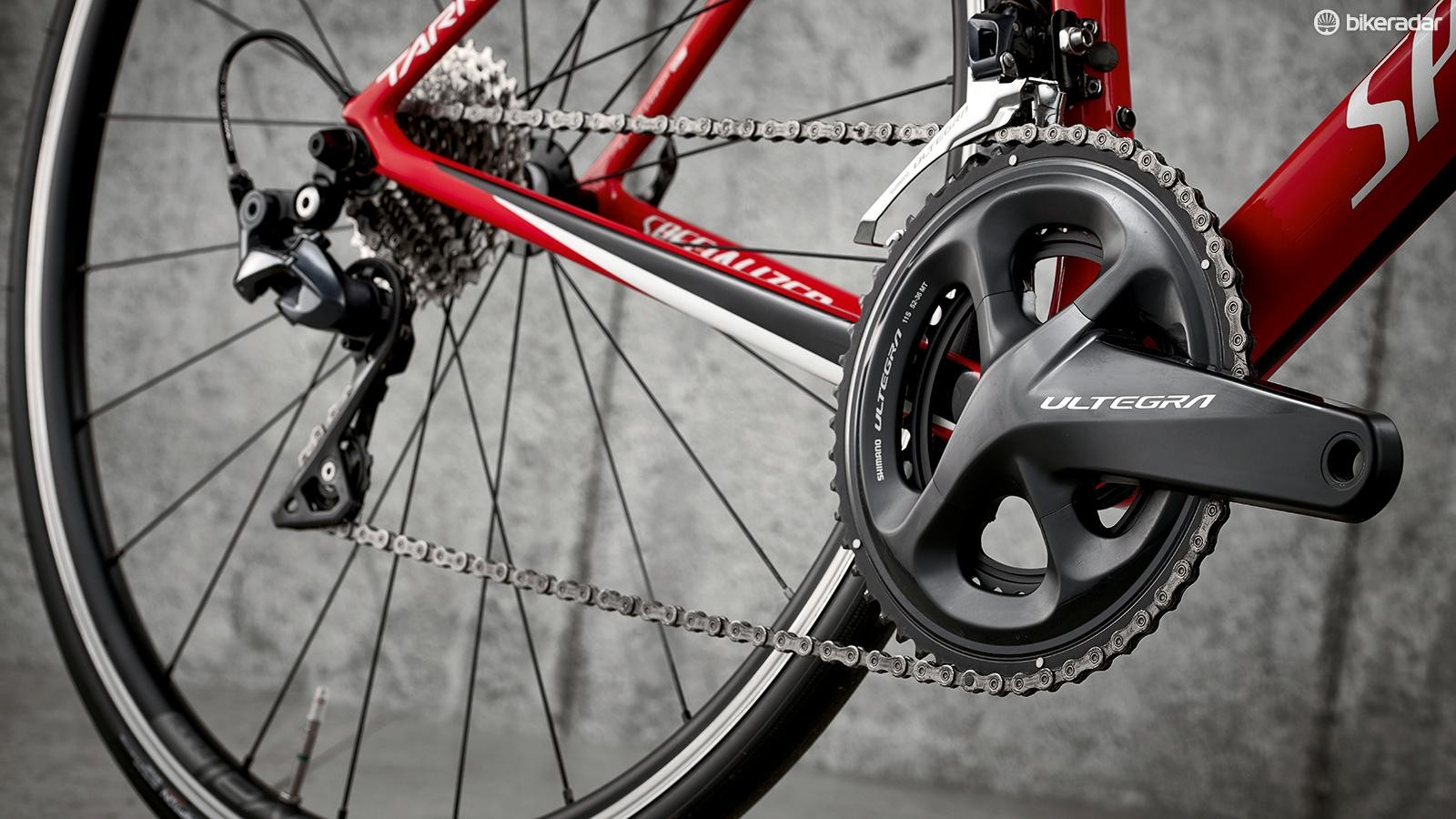 The Shimano Ultegra groupset runs a 52/36 and 11-28 combination