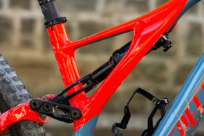 The new side arm borrowed from the Stumpjumper range houses the internal cable routing and provides extra frame stiffness to allow the rear suspension to be more controlled on rough terrain