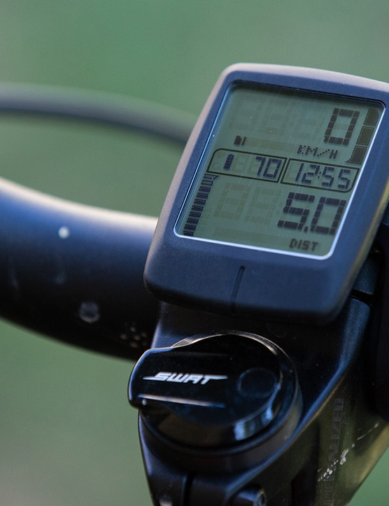 This optional handle bar display connects to the TCU and displays speed, distance, battery charge, pedal assist mode and more