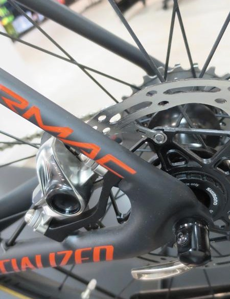 The Tarmac Disc uses standard QRs opposed to the thru-axles found on the new ViAS Disc