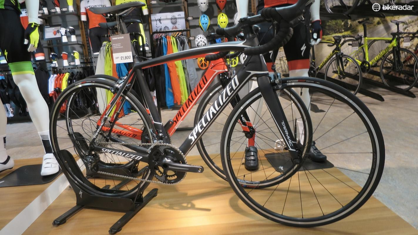 The Tarmac SL4 Elite mixes Ultegra with a Praxis Zayante chainset and runs on Axis Elite wheels for £1,800