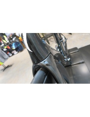 The new disc fork has the option for running the hose outside of the head tube