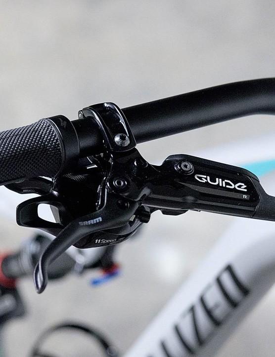 SRAM's Guide R levers tuck up alongside a SRAM GX shifter