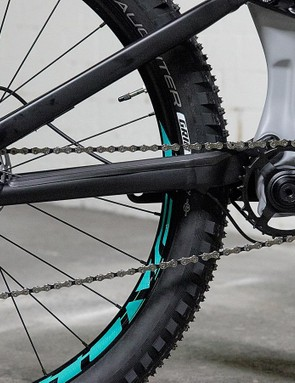 A SRAM GX and RaceFace mix makes up the Rhyme's 1x drivetrain