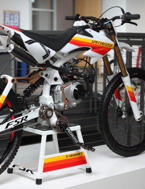 The E-Demo was a gas powered, full suspension bike