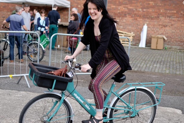 Outside there was a test track to try out various bikes at the show, with one punter clearly loving her time on the Elephant bike!