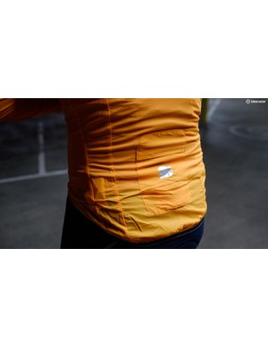 The built-in pocket doubles up for storage when the jacket is being worn