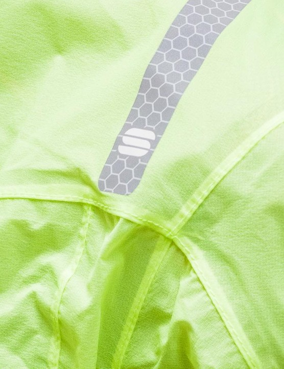 Reflective detailing on a reflective jacket. Safety first, kids