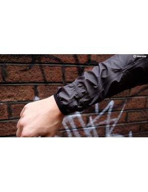 The double elastic cuff keeps the material tight around your forearms, while allowing ease of getting the jacket on and off