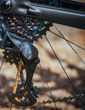 SRAM's all new XX1 Eagle AXS rear derailleur uses a removable battery, in-built motor and gear box plus two clutches, one of which should save the derailleur should you whack it