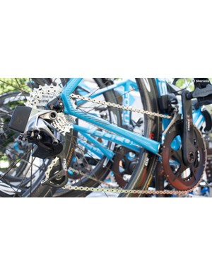 The electronic groupset provides wireless shifting with each derailleur containing motors