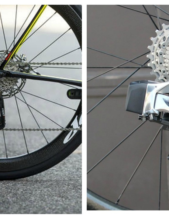 Here's a side-by-side comparison of the new longer-arm Red eTap derailleur (left) and existing short-arm one (right)