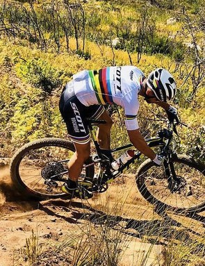 World Champ Nino Schurter was spotted ripping with the unreleased electronic group