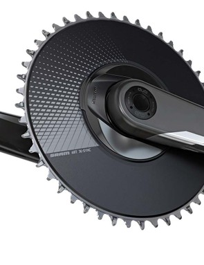 AXS means both 1x and 2x drivetrains, but 1x doesn't just mean 'cross and gravel, SRAM also has this new 1x aero chainset for TT and triathlon with a spider mounted Quarq power meter option