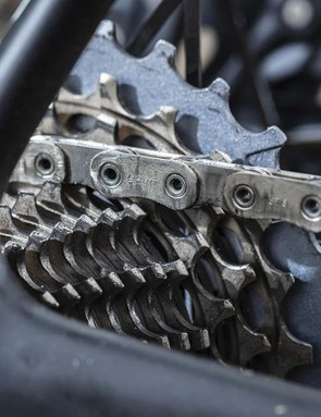 The new cassette keeps a close ratio of single-tooth jumps for the first seven sprockets