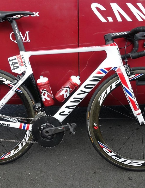 Norwegian sprinter Alexander Kristoff gets some accents to national-flavoured highlights on his Canyon Aeroad CF SLX