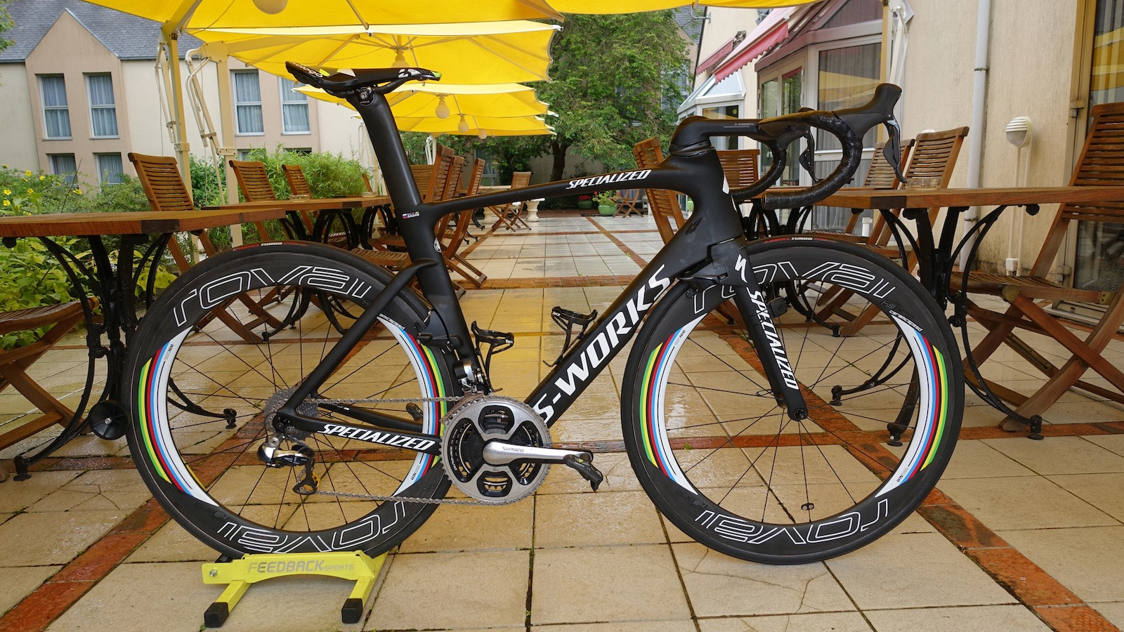 Rainbow accents on the wheels are used to highlight World Champion Peter Sagan's Specialized Venge ViAS