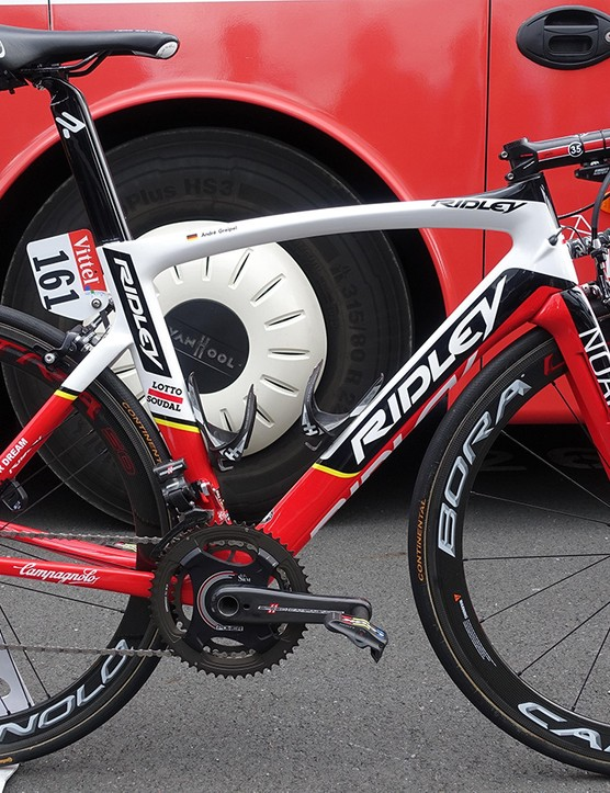 There's plenty of fancy kit on Andre Greipel's Lotto-Soudal Ridely Noah SL, but nothing flashy to single it out. Not even the gorilla logos his rigs have sported in previous years