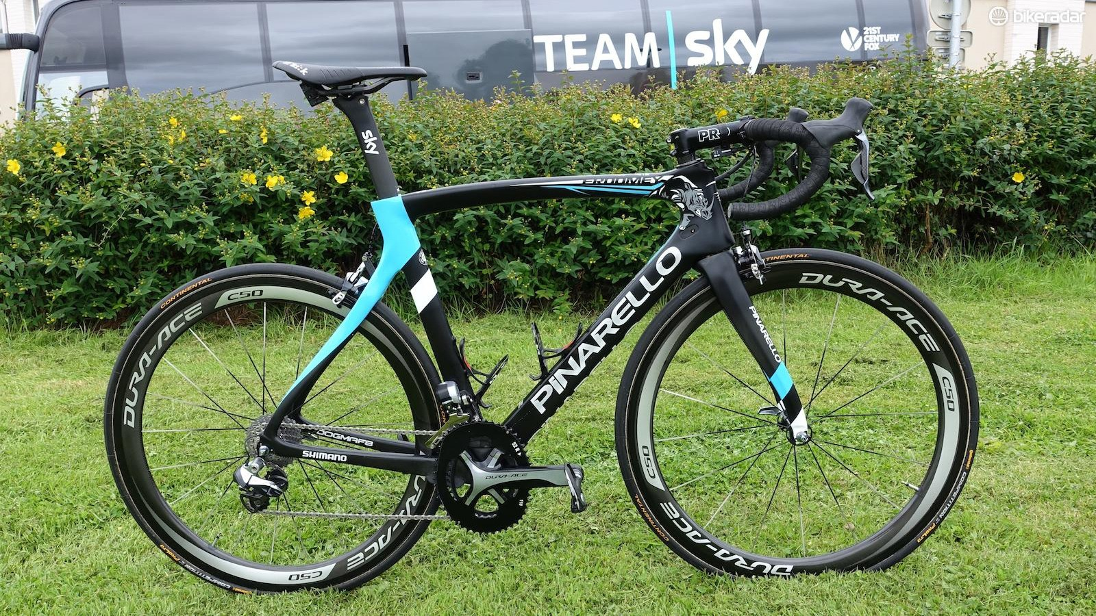 Details like the custom rhino decals and Osymetric chainrings help Chris Froome's Pinarello Dogma F8 stand out from the rest of the Team Sky bikes