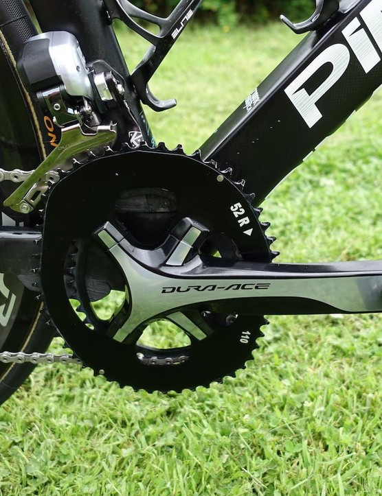 Extra catchers mounted above and below the Osymetric rings reduce the risk of Froome's chain falling of his preferred drivetrain set-up