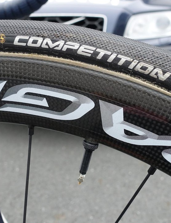 Quintana and his Spanish wingman Alejandro Valverde are the only two riders to run these prototype Campagnolo Bora wheels. Only five sets of the wheels exist and they feature a new brake track for improved stopping power in wet weather