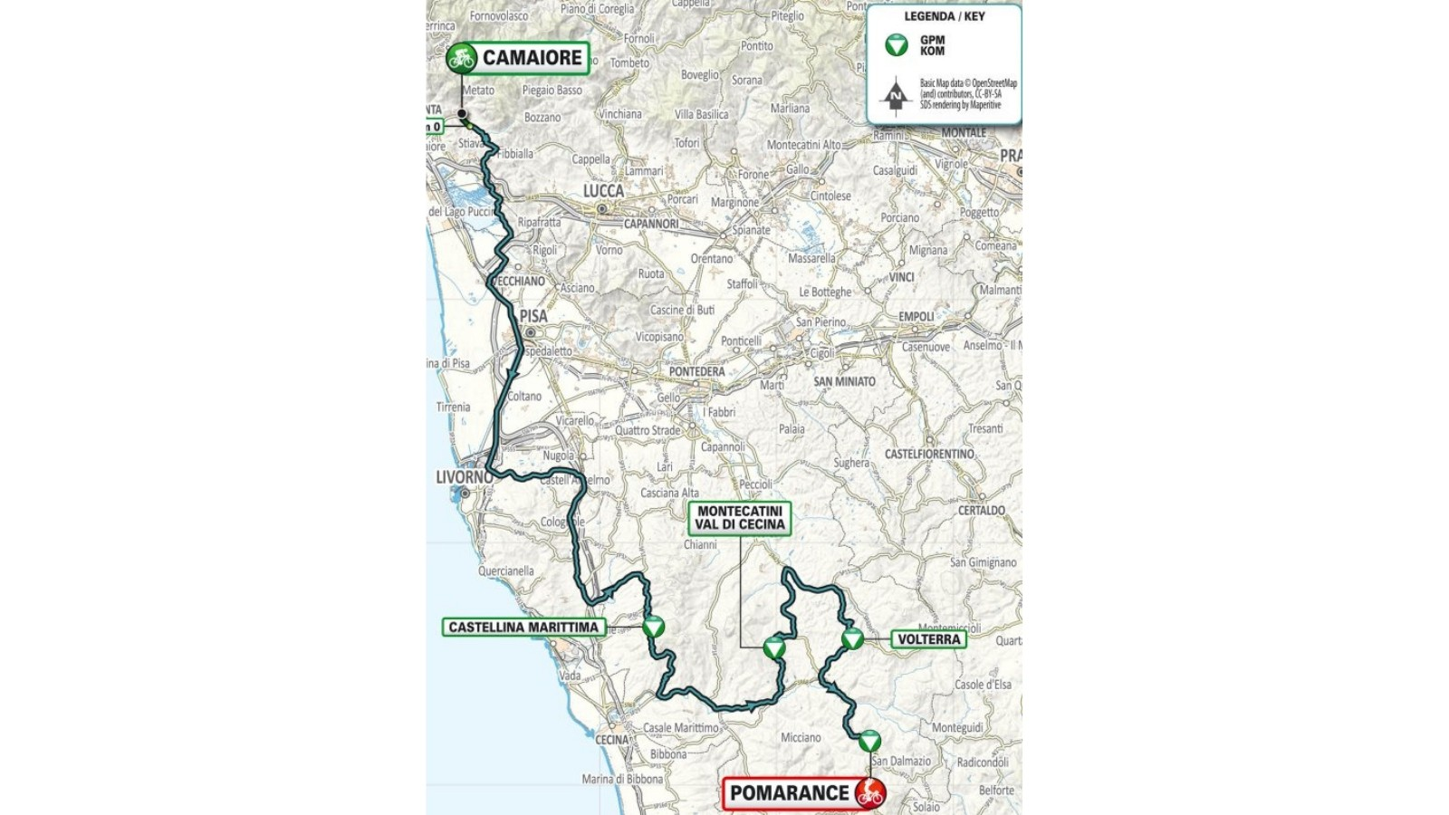 Stage 2 is a 189km race to Pomarance