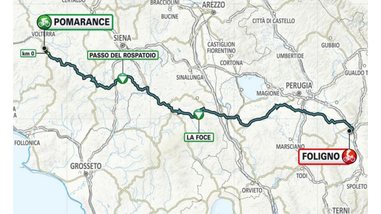 Stage 3 moves through Siena and tackles the Passo del Rospatoio