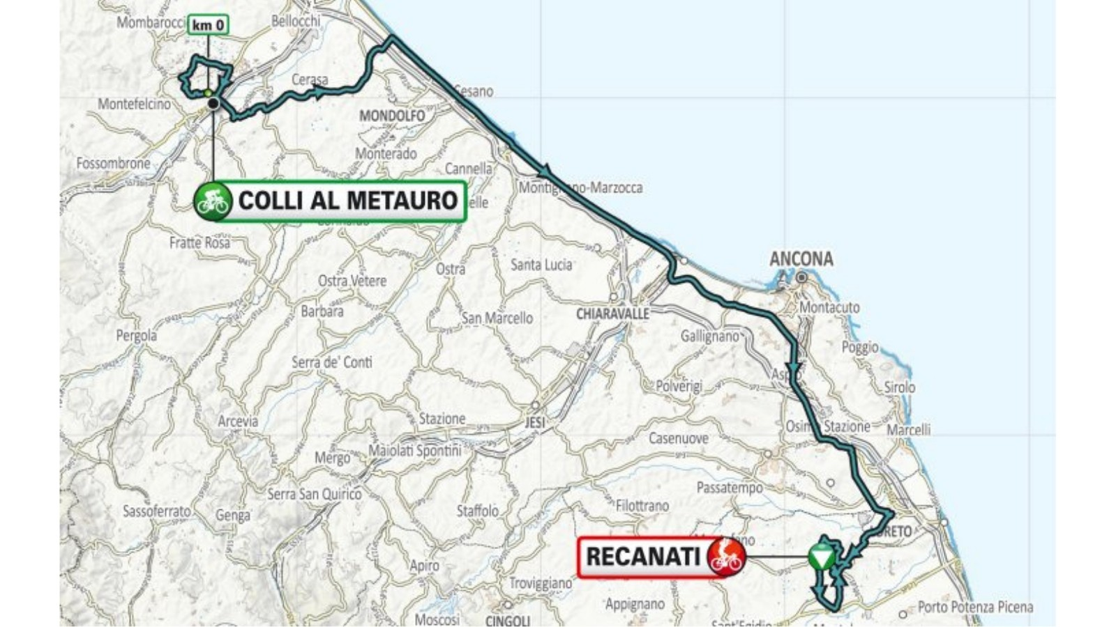 Stage 5 is another hilly day, leading from Colli al Metauro to an uphill finish in Recanati